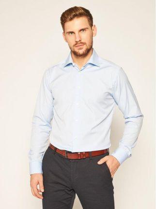 Elegancka koszula męska różowa z długim rękawem (dx1367  tIvr8