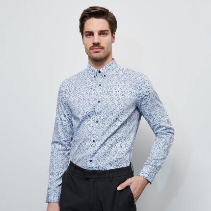 Elegancka śmietankowa (ecru) koszula smokingowa NORMAL FIT
