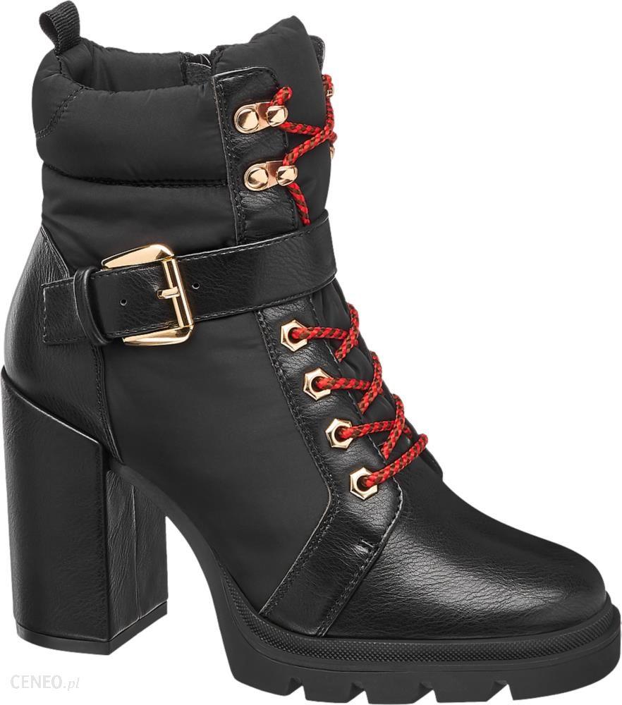 Czarne botki damskie Catwalk z czerwonymi sznurówkami Ceny