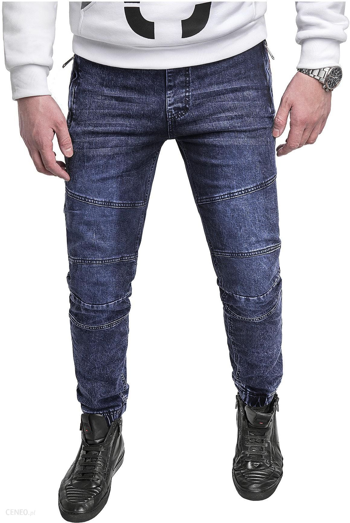 Risardi Spodnie jeansowe męskie joggery HY-559- niebieskie