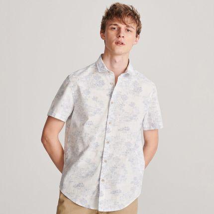 Reserved Lniana koszula regular fit Biały Ceny i