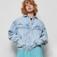 Cropp Jeansowa kurtka z barankiem Niebieski Ceny i