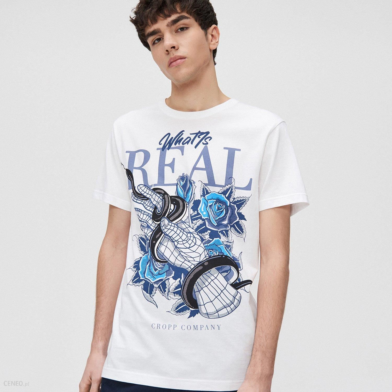 Cropp Koszulka z motywem węża i róży Biały Ceny i  d37KO