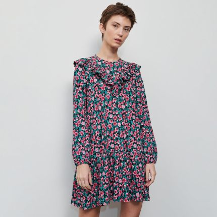 Reserved Sukienka z falbanami Bordowy Ceny i opinie
