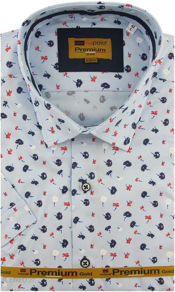 Koszula Męska Redpolo błękitna w kwiaty z krótkim rękawem w  yn86O