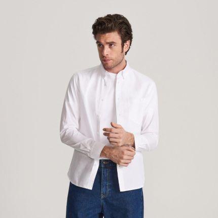 Reserved Lniana koszula regular fit Biały Ceny i  TxgtR