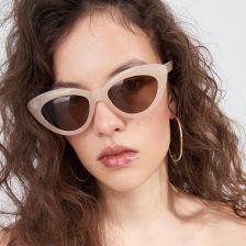 Stylowe okulary słoneczne kocie oczy lustrzane srebrne