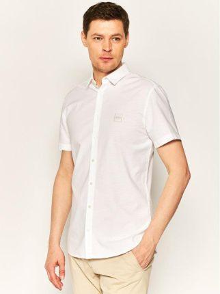 BORGIO koszula mozza 00201 na spinki biały classic fit 176  ADe7W