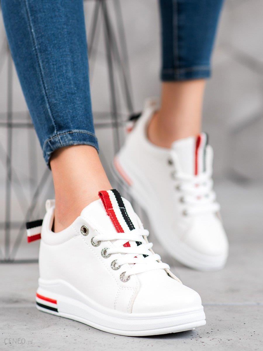 Białe Sneakersy Z Ukrytą Koturną TOP MODA, modne obuwie
