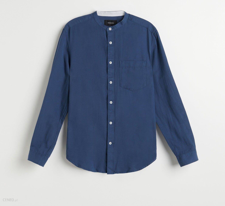 Reserved Koszula z bawełny i lnu Niebieski Ceny i  ohn7q