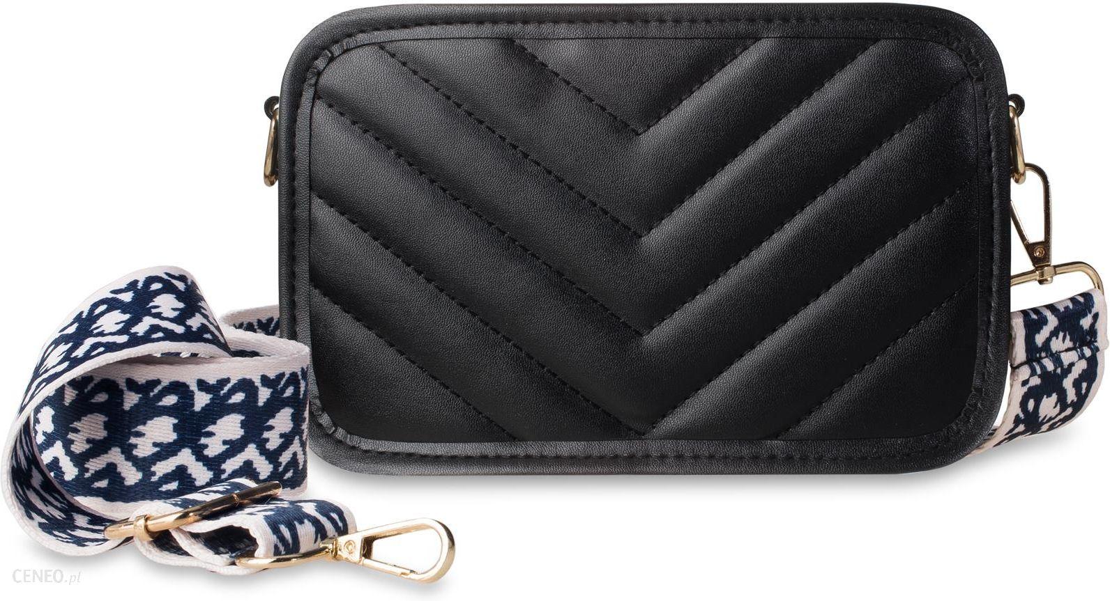 Mała torebka damska pikowana listonoszka na modnym szerokim pasku z fantazyjnym wzorem czarny
