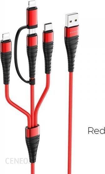 Kabel 4w1 USB A >microUSB +LIGHTNING+USB C 2.0 1,8m