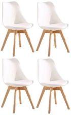 LitigoMeble Zestaw Krzesła Kris Nowoczesne Z Poduszką Drewno Bukowe Białe 4szt