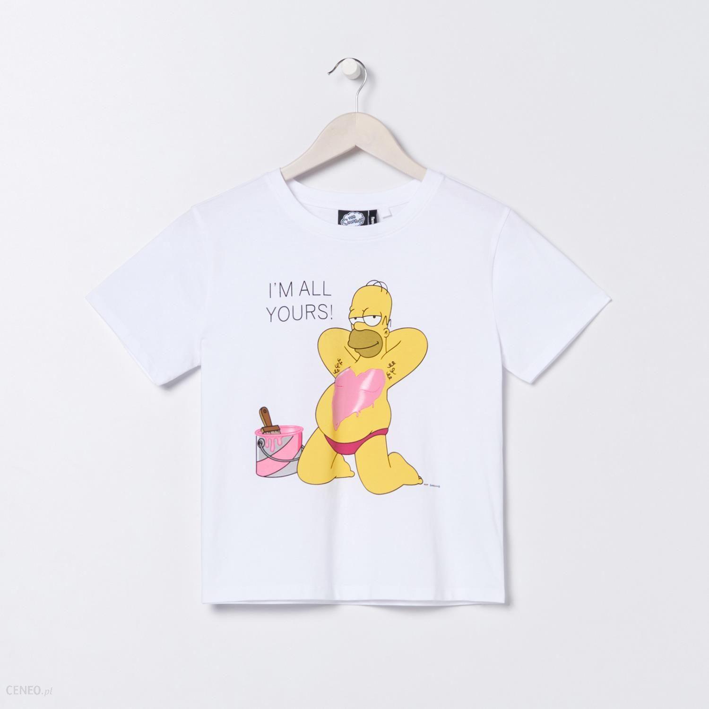 Sinsay Koszulka The Simpsons Biały Ceny i opinie Ceneo.pl