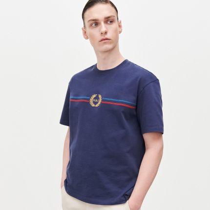 House Koszula z kontrastowym obszyciem Granatowy szary w