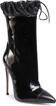 Czarne botki na obcasie z siateczki obszytej cekinami Ceny