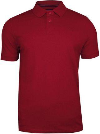 Bordowa Bawełniana Koszulka POLO -Adriano Guinari- Męska, KrÓtki Rękaw, z Kołnierzykiem, Casualowa TSADGPOLOrhubarb - Ceny i opinie T-shirty i koszulki męskie PNMU