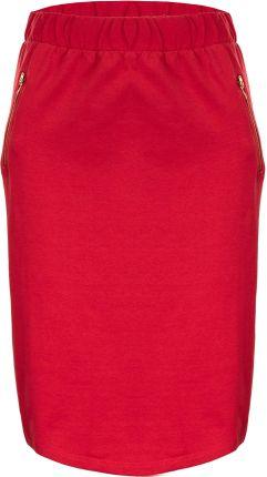 Spódnica ołówkowa z nadrukiem w optyce koronki czerwony