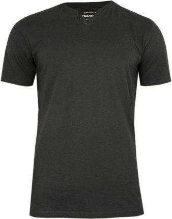 Grafitowy Bawełniany T-Shirt -PAKO JEANS- Męski, KrÓtki Rękaw, Dekolt w Serek z Guzikami, BASIC TSPJNSmGRAFITguzik - Ceny i opinie T-shirty i koszulki męskie ACMU