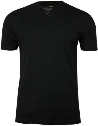 Czarny Bawełniany T-Shirt -PAKO JEANS- Męski, KrÓtki Rękaw, Dekolt w Serek z Guzikami, BASIC TSPJNSmCZARNYguzik - Ceny i opinie T-shirty i koszulki męskie ZXQM