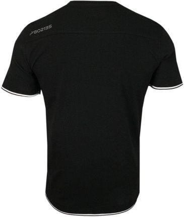 Czarny Bawełniany T-Shirt -PAKO JEANS- Męski, KrÓtki Rękaw, Dekolt z Guzikami, Wstawka w Paski TSPJNSTOWMcz - Ceny i opinie T-shirty i koszulki męskie GZOW