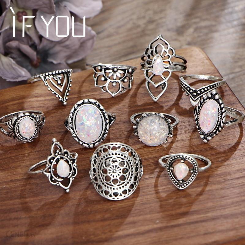 AliExpress Jeśli ty Vintage kamień pierścionki z opalem zestaw artystyczne geometryczne Antique srebrny kolor