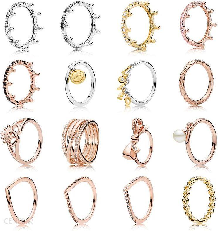 AliExpress 16 Style kobiety 925 srebro pierścionki Charms korona Bowknot Pearl styl kryształowy pierścionki dla