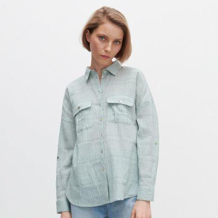 Cropp Lniana koszula oversize Beżowy Ceny i opinie  kRtPc