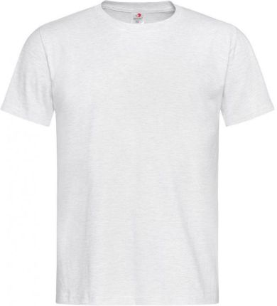 Jasny Szary Bawełniany T-Shirt Męski Bez Nadruku -STEDMAN- Koszulka, KrÓtki Rękaw, Basic, U-neck TSJNPLST2000ash - Ceny i opinie T-shirty i koszulki męskie GUFA