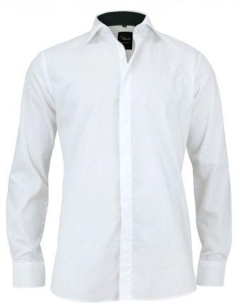 Jack Polo Biała biznesowa koszula męska długi rękaw z czarną  LG4Kt