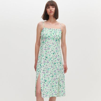 Mohito Zwiewna sukienka w kwiaty Biały Ceny i opinie