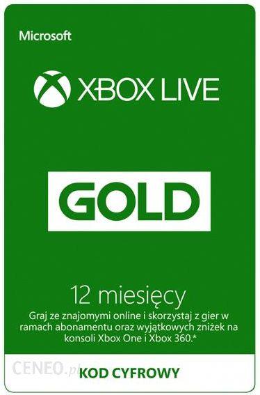 Karta Xbox Live.Microsoft Xbox Live Gold 12 Miesiecy Karta Pre Paid Podarunkowa