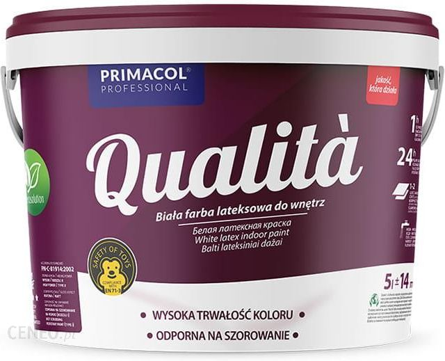 Primacol Farba Lateksowa Do Wnętrz Qualita 5L Biała