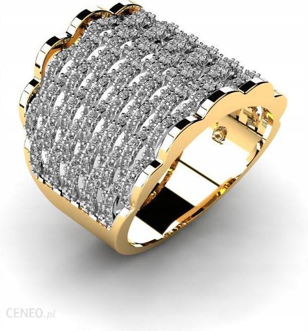 Pierścionek Złoty Zaręczynowy Szeroki Błyszczący