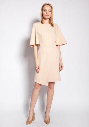 Sukienka Elegancka sukienka dwurzędowa w jasnym różowym