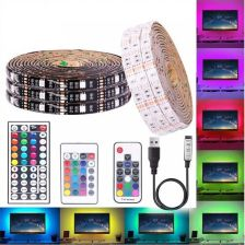"""SMD 5050 RGB LED STRIP DC 5V USB LIGHT FLEXIBLE IP20 IP65 WATERPROOF TAPE 1M 2M 3M 4M 5M ADD REMOTE FOR TV BACKGROUND"" - zdjęcie 1"