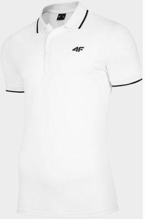 Koszulka męska polo NOSH4 TSM009 4F (biały) - Ceny i opinie T-shirty i koszulki męskie UUUB