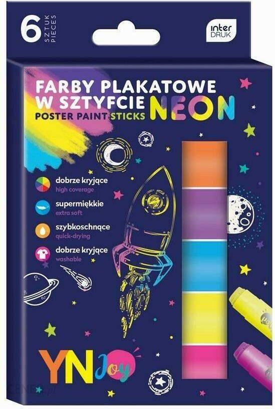 Neoniniai lazdos dažai iš 6 spalvų