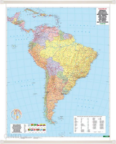 Ameryka Poludniowa Mapa Scienna Polityczno Fizyczna 1 8 000 000