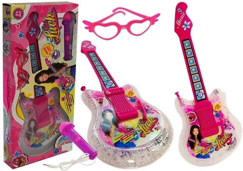 Liesas vaikiškos gitaros rinkinys su mikrofonu ir akiniais rožinės spalvos