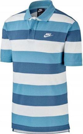 Koszulka męska Polo Sportwear Nike (biały niebieski) - Ceny i opinie T-shirty i koszulki męskie DGXJ