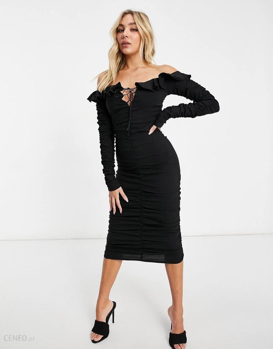I Saw It First Czarna Marszczona Sukienka Midi Z Wiazanym Dekoltem Typu Bardot Czarny Ceny I Opinie Ceneo Pl
