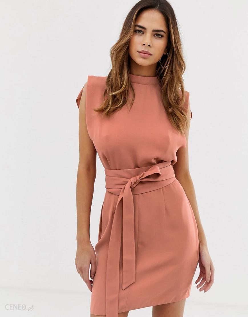 Asos Design Terakotowa Sukienka Mini Z Rozcieciami Na Ramionach I Szerokim Wiazanym Paskiem Rozowy Ceny I Opinie Ceneo Pl