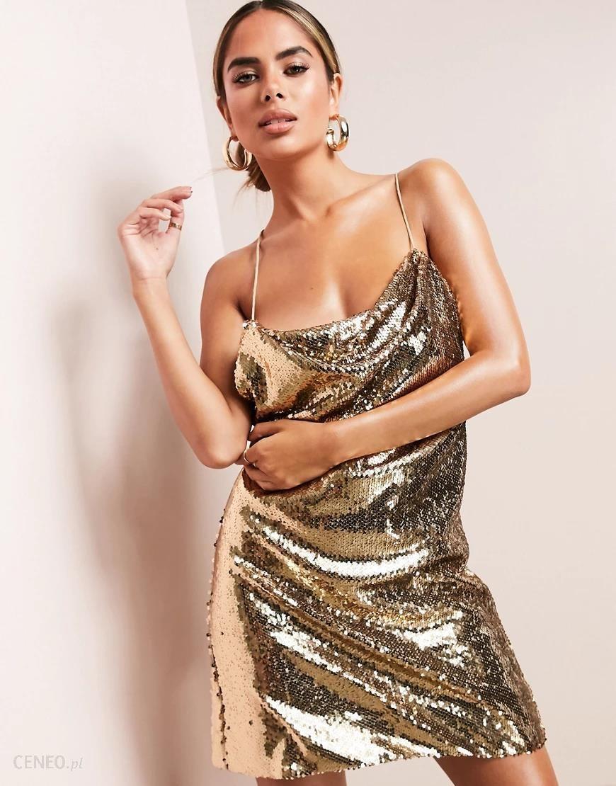 Asos Luxe Zlota Sukienka Mini Na Ramiaczkach Z Drapowanym Dekoltem Zdobiona Cekinami Na Calej Powierzchni Zloty Ceny I Opinie Ceneo Pl
