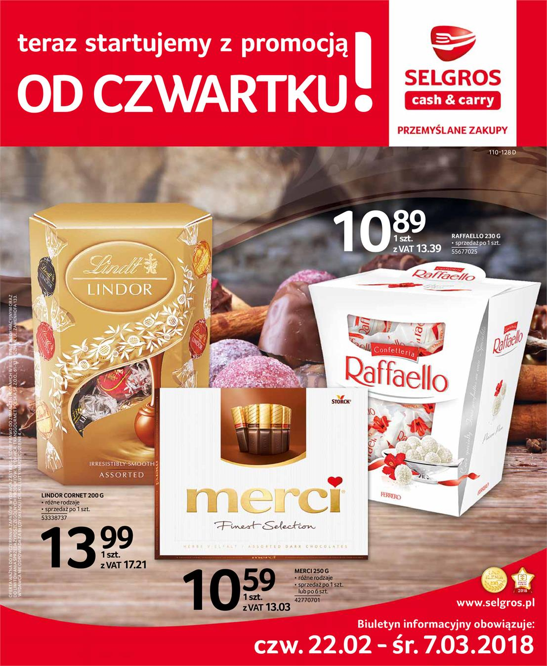 Gazetka Selgros Sp. z o.o. nr 0 od 2018-02-22 do 2018-03-07