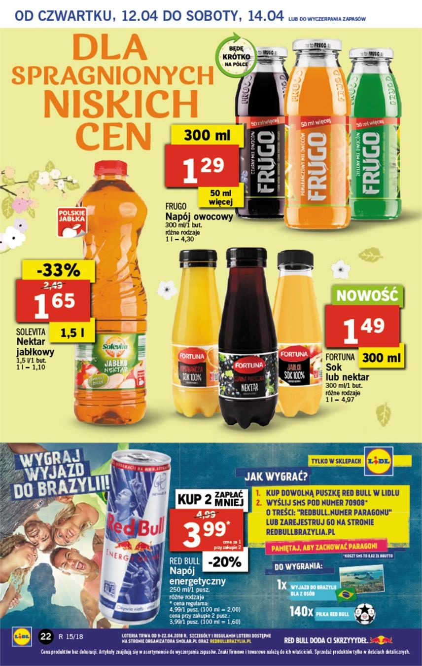 Gazetka Lidl Polska Sp. z o.o. nr 22 od 2018-04-12 do 2018-04-14