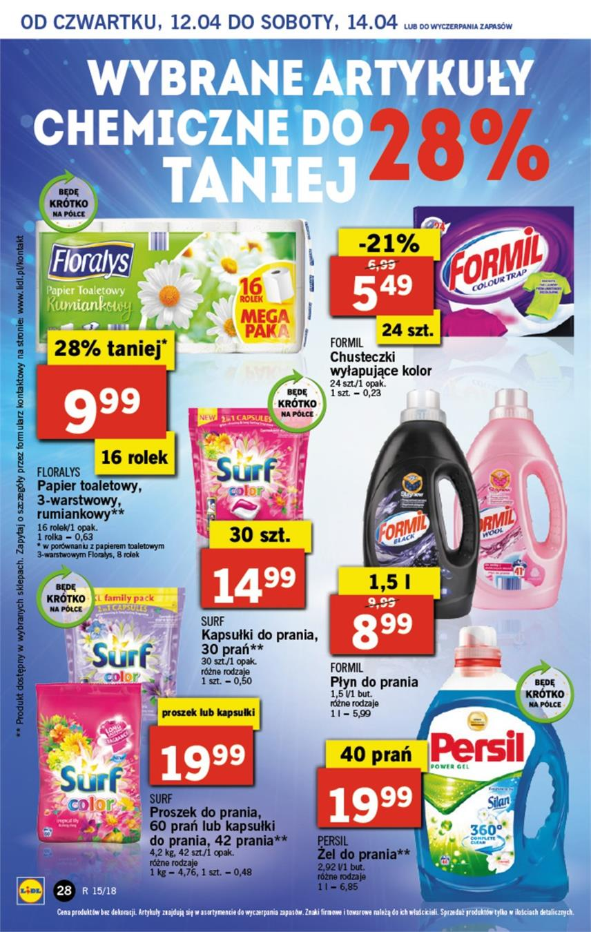 Gazetka Lidl Polska Sp. z o.o. nr 28 od 2018-04-12 do 2018-04-14