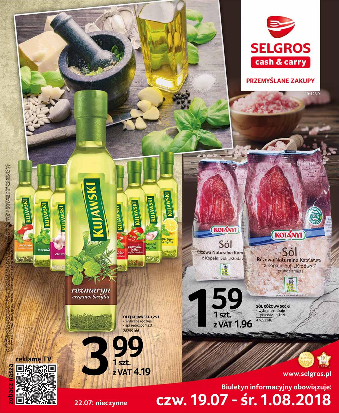 Gazetka Selgros Sp. z o.o. nr 0 od 2018-07-19 do 2018-08-01