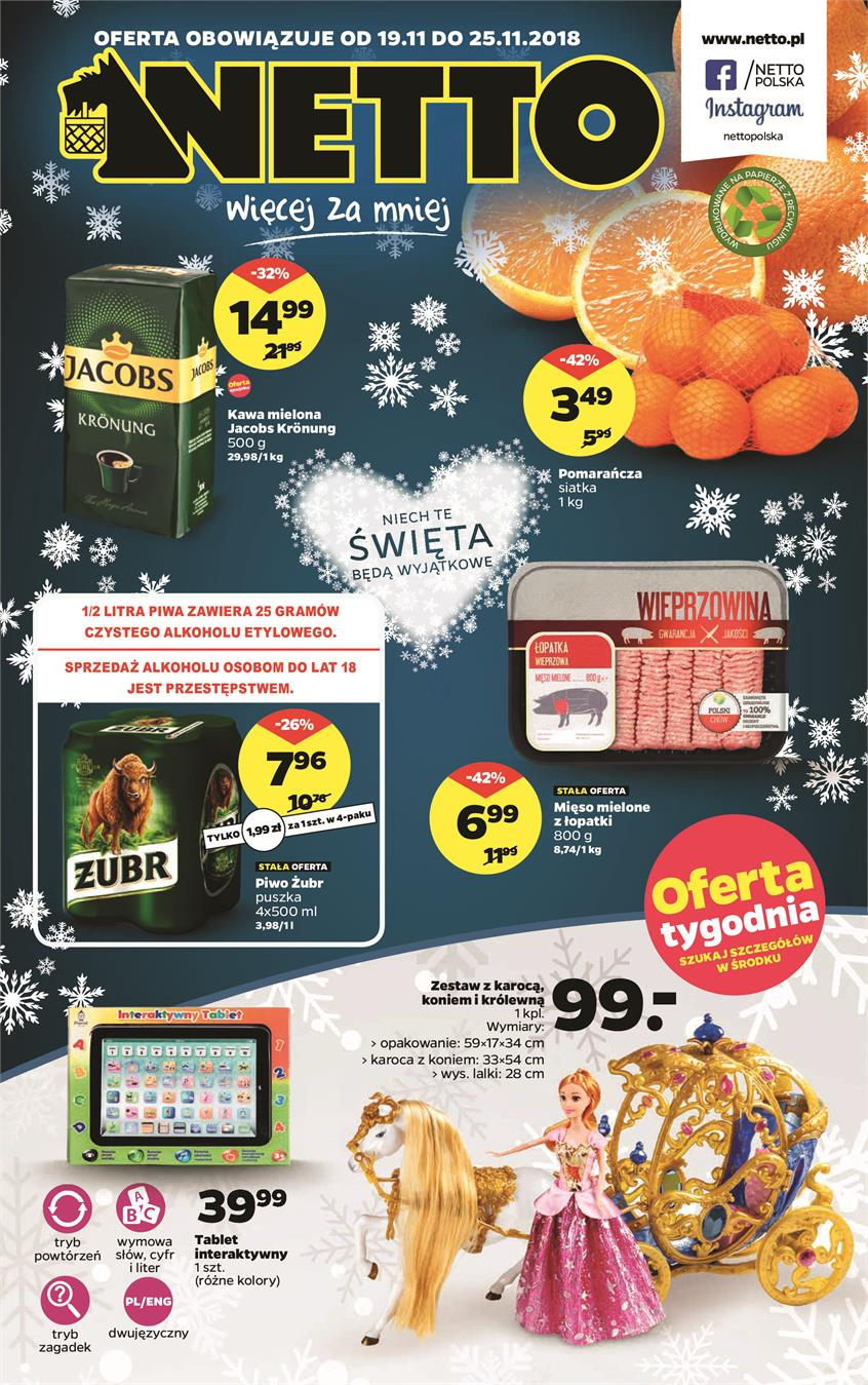 Gazetka Netto Sp. z o.o. nr 1 od 2018-11-19 do 2018-11-25