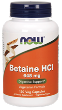 Now Foods Betaine HCl 648 mg BETAINA 120 kaps.
